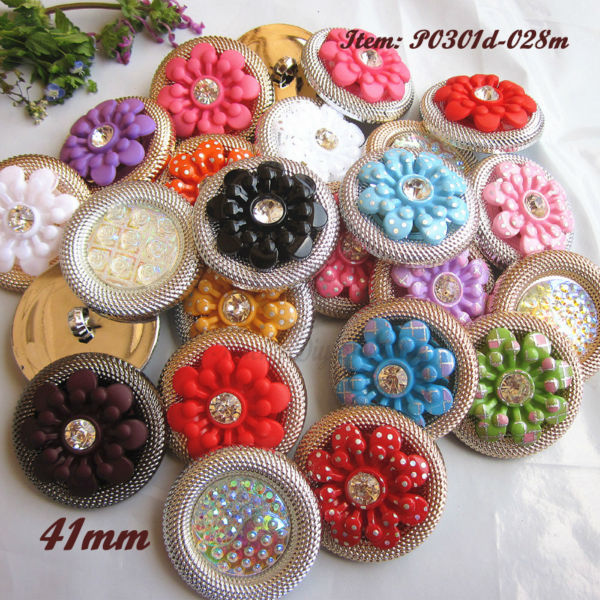 Craft Supplies 48pcs 41mm Mixed Color Big Flower Buttons Used For