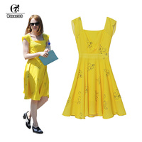ROLECOS Hot Sale la la land Emma Stone Mia Cosplay Costume Yellow Backless Women Long Dresses Printed Flowers Cosplay Costumes