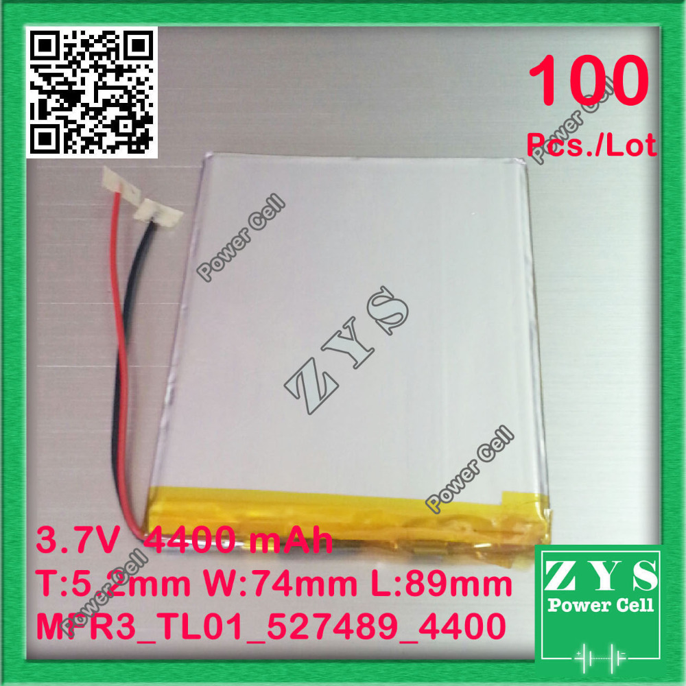 100 pcs./Lot li-ion <font><b>battery</b></font> <font><b>3.7v</b></font> <font><b>4400mAh</b></font> <font><b>battery</b></font> 3.7 v 4400 mah size: 5.2x74x89mm 527489 507590 057590 image