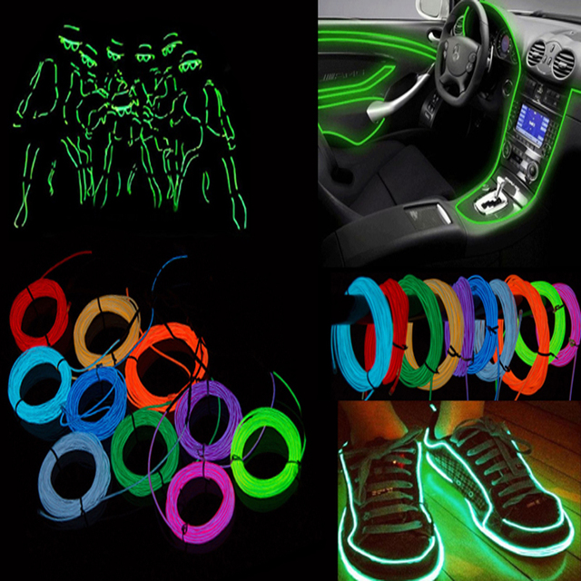 5M Waterproof LED Strip Light Neon Light Glow EL Wire Rope Tube Cable+Battery Controller For Car Decoration Party Dance Light