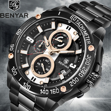 BENYAR Top Brand Luxury Mens Watches Black Quartz Watch  Military Waterproof Chronograph Business Relogio Masculino