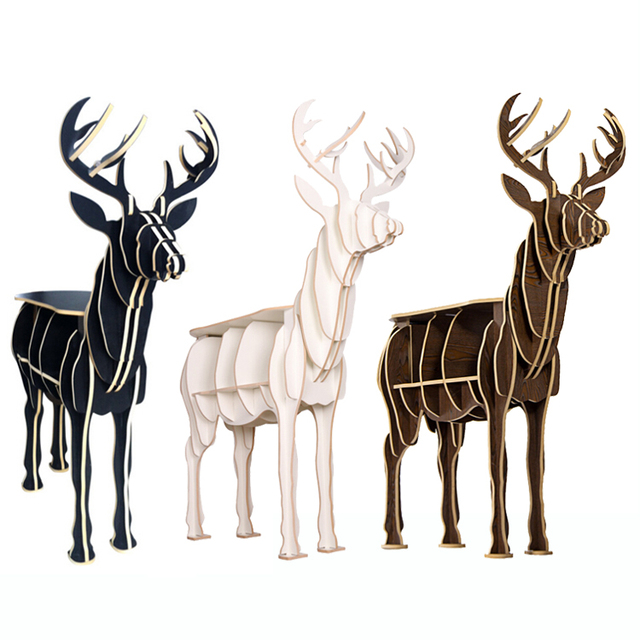 1 set diy wooden deer table elk wapiti furniture for home theme hotel salon christmas decoration - Wooden Deer Christmas Decorations