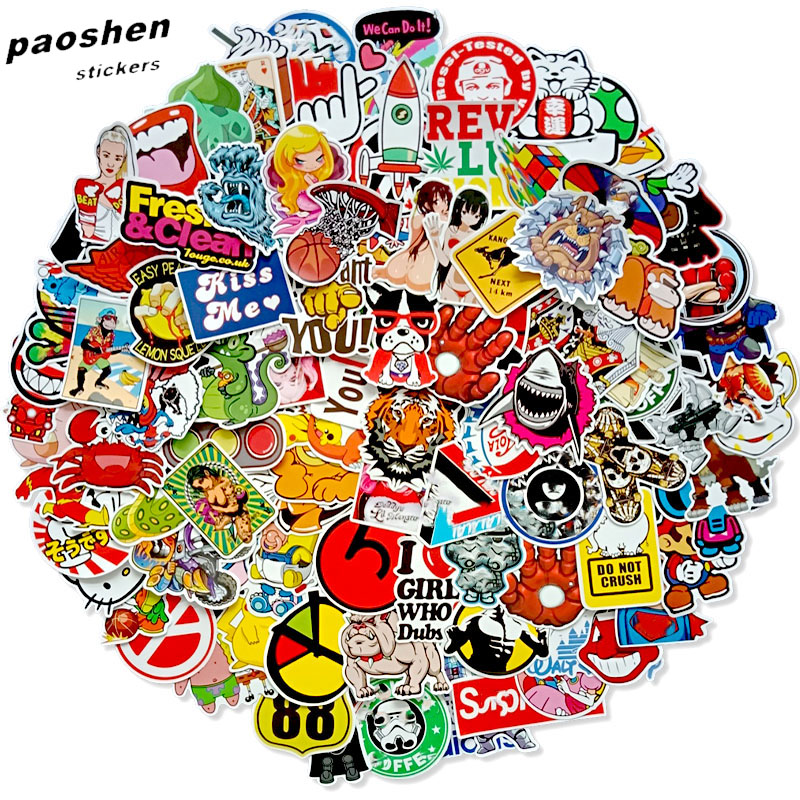 100 PCS Mix  Stickers For Laptop Skateboard Luggage Car Styling Bike JDM The Bathroom Graffiti Guitar Diary Waterproof Stickers