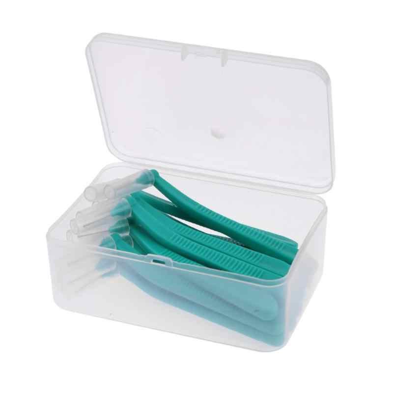 15 Pcs L Bentuk Gigi Sikat Interdental Oral Pembersih Ortodonti Brush 1.0-1.2 Hijau Orang Dewasa Kebersihan Mulut Alat aksesoris