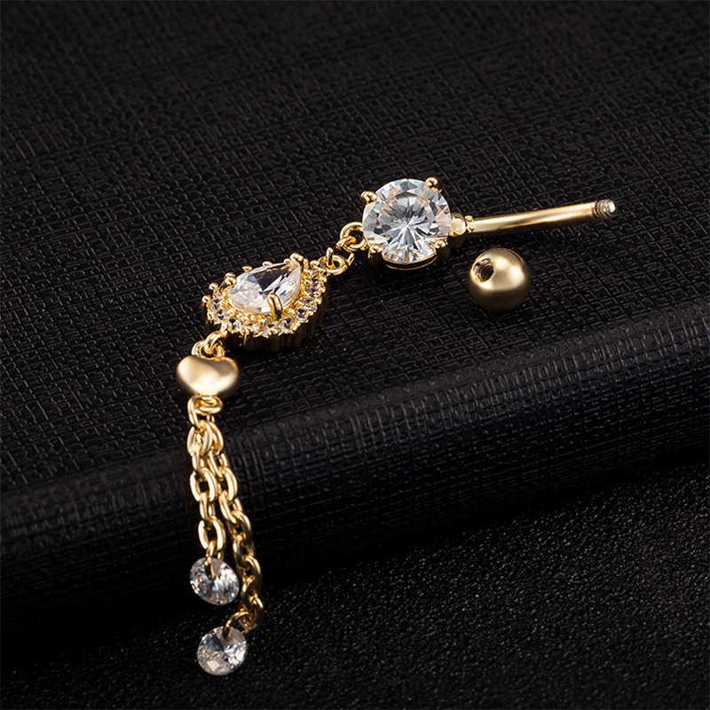 לב טבור פירסינג תכשיטי ברק קריסטל סקסי מועדון בר בטן טבעת זהב צבע גוף אופנה פירסינג כפתור טבור תכשיטים