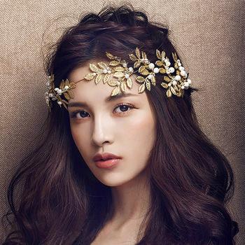 Barokowa biżuteria w stylu Vintage złoty liść perła z pałąkiem na głowę akcesoria do włosów ślubne nakrycie głowy nakrycia głowy ślubne tiary korona biżuteria do włosów tanie i dobre opinie George Black CN (pochodzenie) Ze stopu cynku moda Symulacja perły Opaski na głowę Kobiety TRENDY AL4253528363371376596