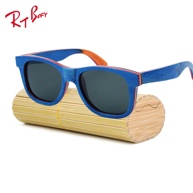 2017 New Brand Designer men wood Sunglasses New Polarized Blue Skateboard Wood sunGlasses Original Box Retro Vintage Eyewear 308