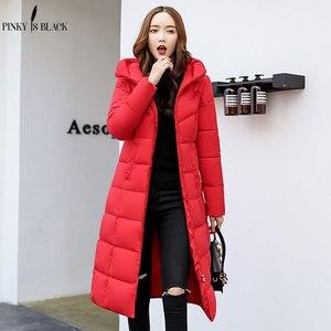 Image 2 - PinkyIsBlack kış ceket kadınlar kapşonlu uzun parkas kış ceket kadın ceket giyim kalınlaşmak aşağı pamuk kapitone ceket