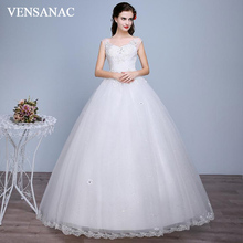 VENSANAC Crystal Sweetheart 2018 Ball Gown Sequined Backless Wedding Dresses Lace Flowers Appliques Bridal Gowns vensanac 2018 crystal sweetheart sequined ball gown wedding dresses short sleeve off the shoulder backless bridal gowns