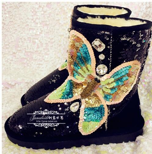 2018 Newest Glitter Butterfly-knot Decorations Snow Boots Woman Round Toe Winter Warm Shoe High Quality Fur Inside Ankle Boots 2018 Newest Glitter Butterfly-knot Decorations Snow Boots Woman Round Toe Winter Warm Shoe High Quality Fur Inside Ankle Boots