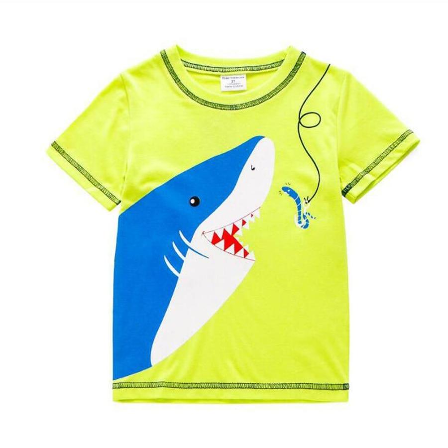 (2T-7T) 6pcs / 1lot Shark Pattern Kids T-shirts For Girls Children T Shirts Tops Baby Blouses O-neck tshirt Cotton Clothing