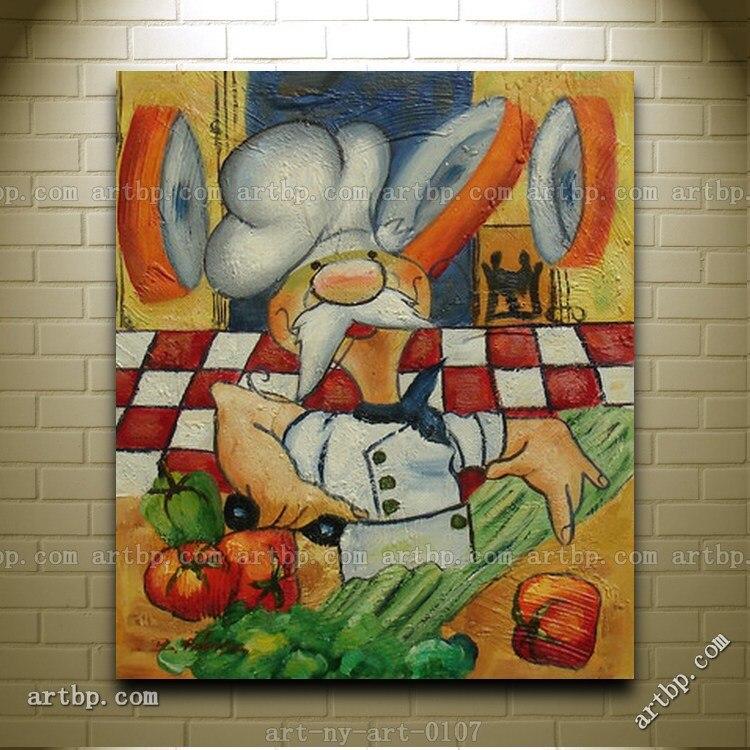 Frameless Modern Cartoon Chefs Canvas Prints Restaurant: Popular Kitchen Chef Pictures-Buy Cheap Kitchen Chef