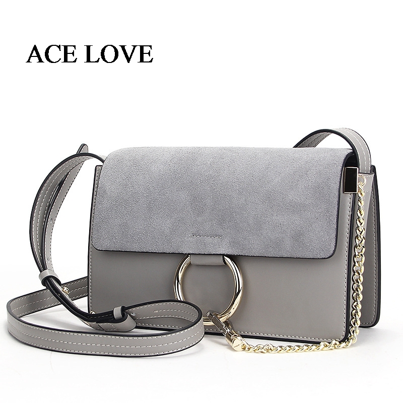 2017 Real Cow Leather Messenger Bag Women Brand Circle Ring Chain Handbag Ladies Serpentine Suede Famous Leather  Crossbody Bags