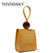 TOYOOSKY Crocodile Handbag for Women Fashion Alligator Leather Wristlets Vintage Luxury Designer Tote Bags Brand Small Clutches fashion two way designer genuine alligator skin ladies women pink day clutches exotic crocodile leather wristlets card case bag