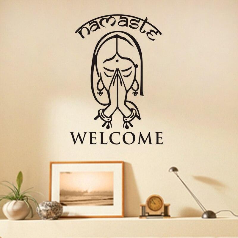 ①  Добро пожаловать Namaste Наклейки На Стены Виниловые Наклейки На Стены Home Decor Гостиная Студия Йо ★
