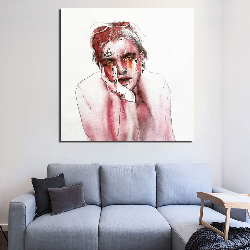 Lil Peep Art Watercolor Canvas Painting Prints Bedroom Home Decoration Artworks Modern Wall Art Oil Painting Posters Pictures in Painting Calligraphy from Home Garden