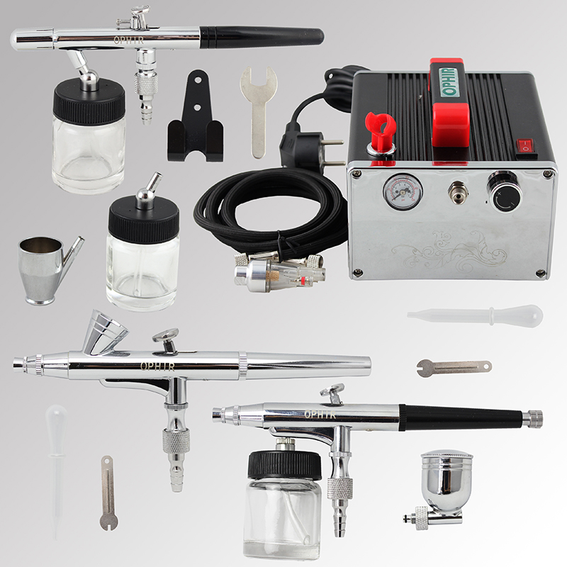 OPHIR Pro 3-Airbrush Kit with Air Compressor 0.2mm 0.3mm 0.35mm Airbrush Gun for Model Tattoo Paint Nail Art _AC091+005+072+073 ophir 0 3mm airbrush kit with mini air compressor single action airbrush gun for cake decorating nail art cosmetics ac002 ac007