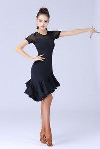 Image 5 - Женский костюм для латиноамериканских танцев, черное кружевное платье с короткими рукавами для сальсы и самбы, 2019