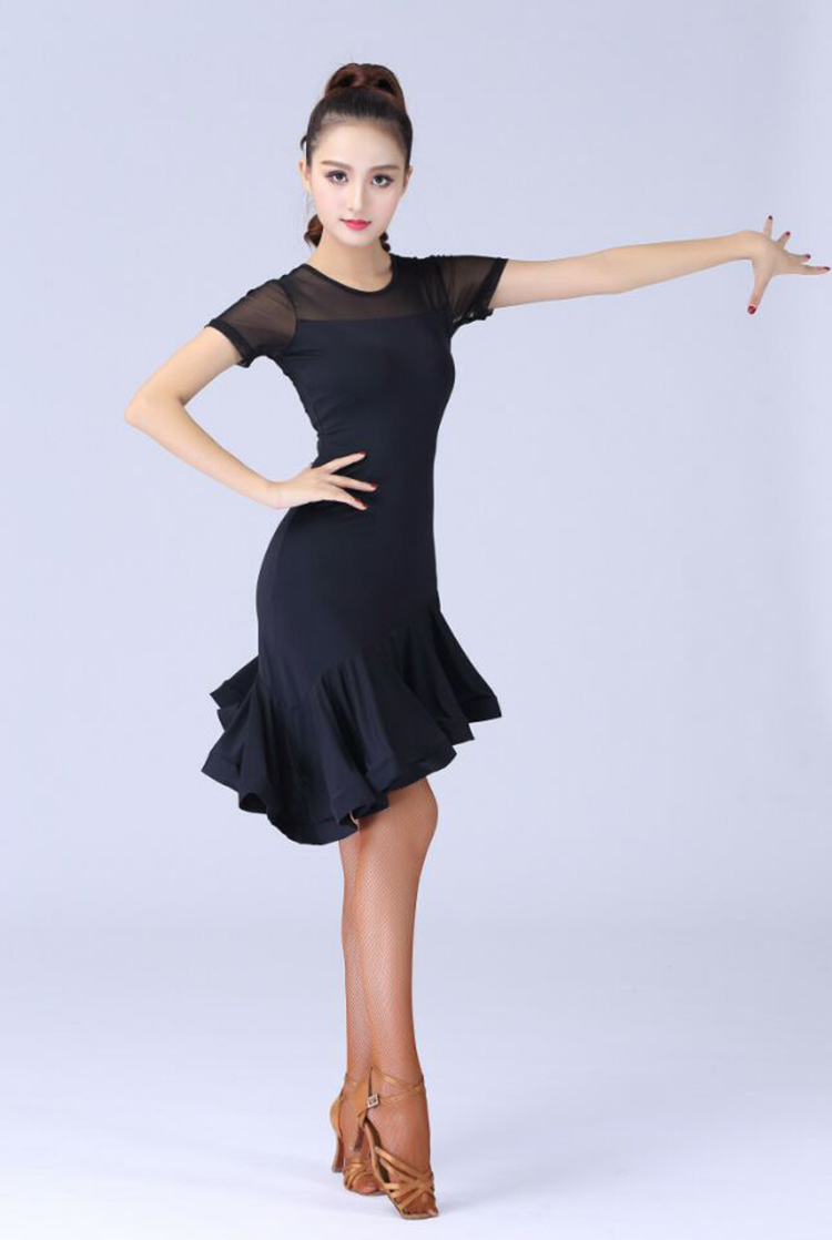 Latin Dance Dress Female Adult Performing Ballroom Tango Cha Cha Latin Dance Dresses New Short Sleeve Tassel Skirt Dance Dress