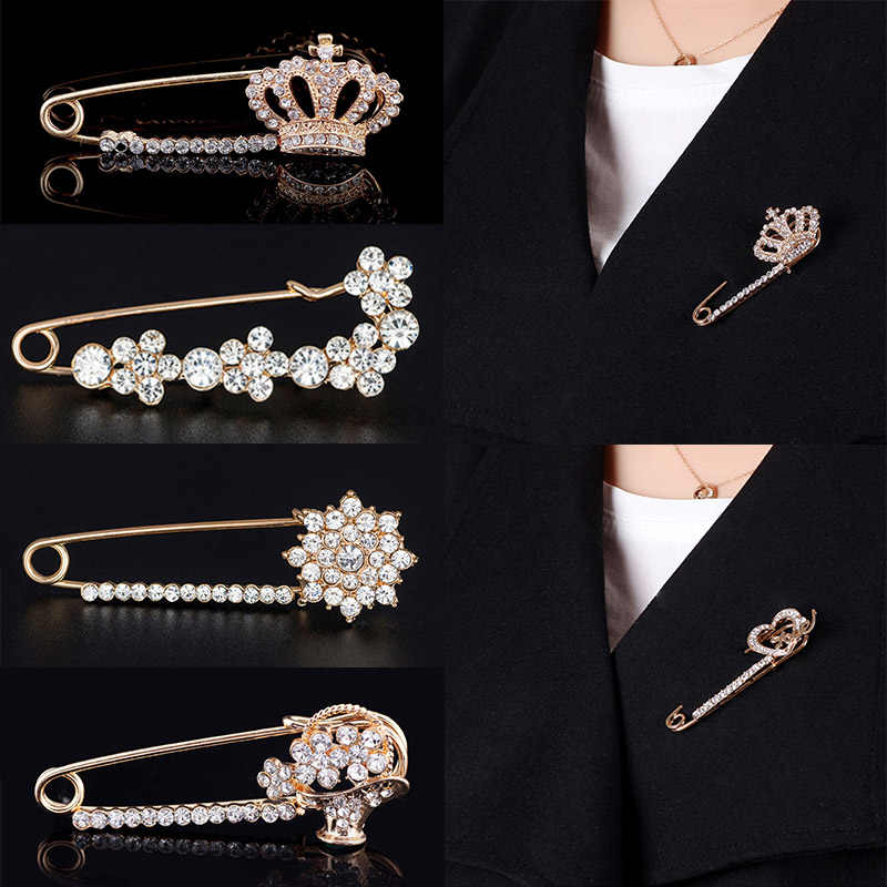 LNRRABC Elegant Crown Crystal Flower Scarf Buckle Brooch Pin Lapel Pin Collar Women Girl Pins Badges For Clothing Ornament