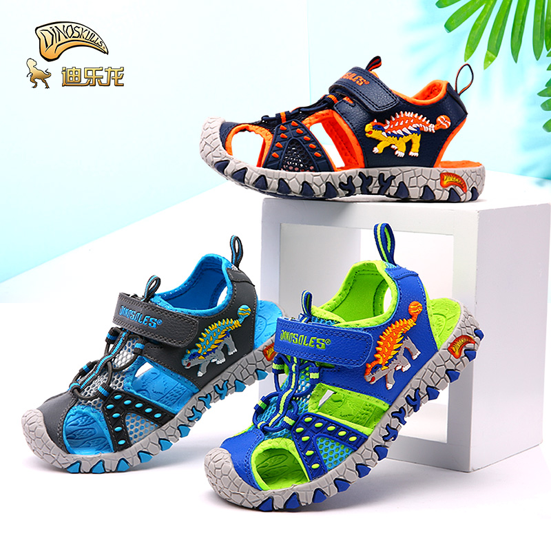 DINOSKULLS Children's Summer Shoes Boys Sandals Dinosaur Cut-Outs Closed Toe Fashion 5T Kids Casual Beach Sandals Anti-slippery