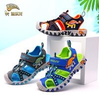 DINOSKULLS Children's Summer Shoes Boys Sandals Dinosaur Cut Outs Closed Toe Fashion Kids Casual Beach Sandals Anti slip 27#~34#