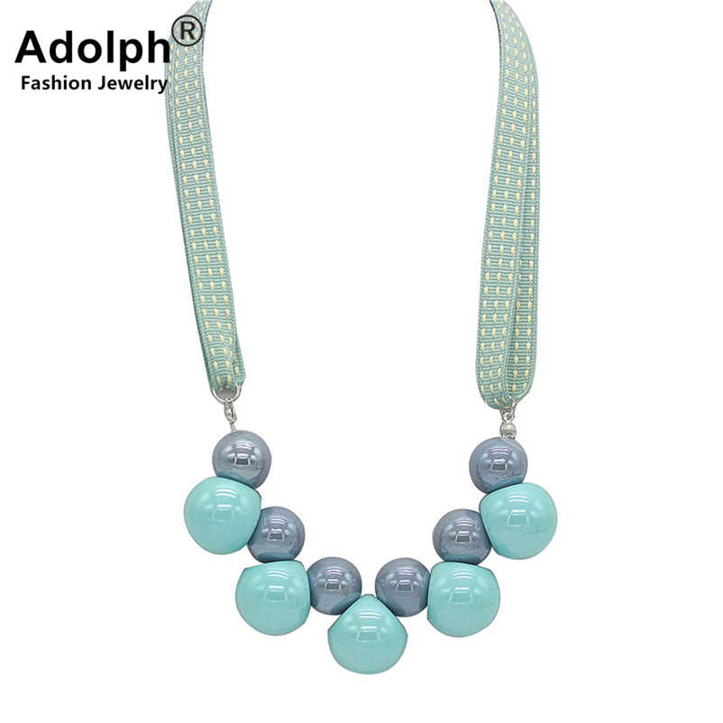 ADOLPH Fashion Korea Cloth Ball Flower Pendant Choker Necklace 2018 New Handwork Crystal Bow Boho Statement Neckalces Woman HOT