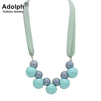 Женское ожерелье с подвеской ADOLPH, корейское ожерелье с тканевым шаром и цветком, 2018