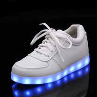 2016 Autumn New LED USB CHARGER Shoes Kids Leather Boys Shoes With Colorful Flash Lights Girls Shoes Luminous Shoes Children
