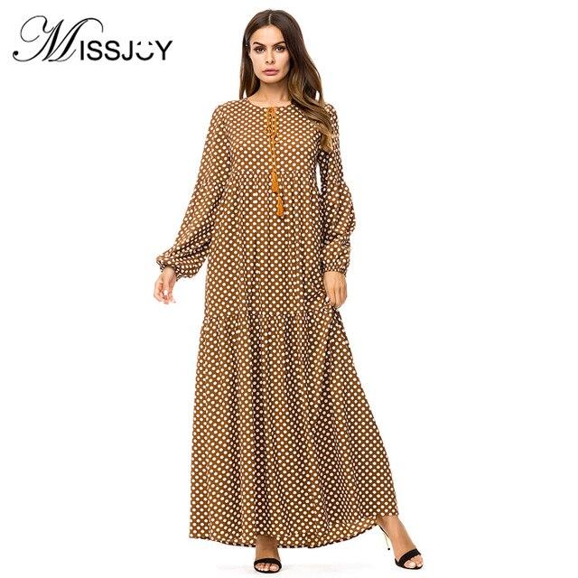 a282f659a2 MISSJOY 2018 abaya Plus size 4XL Muslim Dubai dresses Fashion Women Long  Sleeve Polka Dot Print Casual Loose Party Long turkish