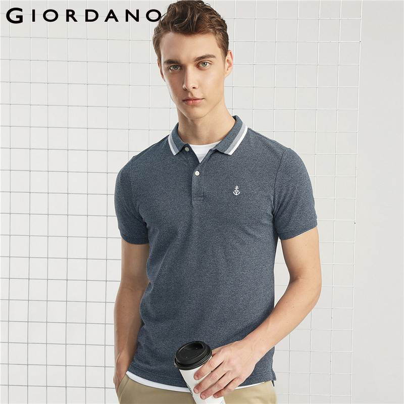 Giordano Men Polo Embroidery Pattern Homme Clothing Short Sleeves Flat Collar Polo Shirt Summer Series For 2018