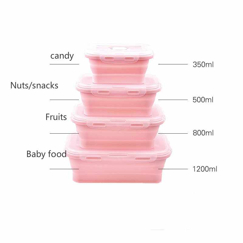 OLOEY Baby Training Bowl Easy Clean Silicone Collapsible Baby Bowl with Lid Expandable Folding Foldable Bowls Set For Kid Travel