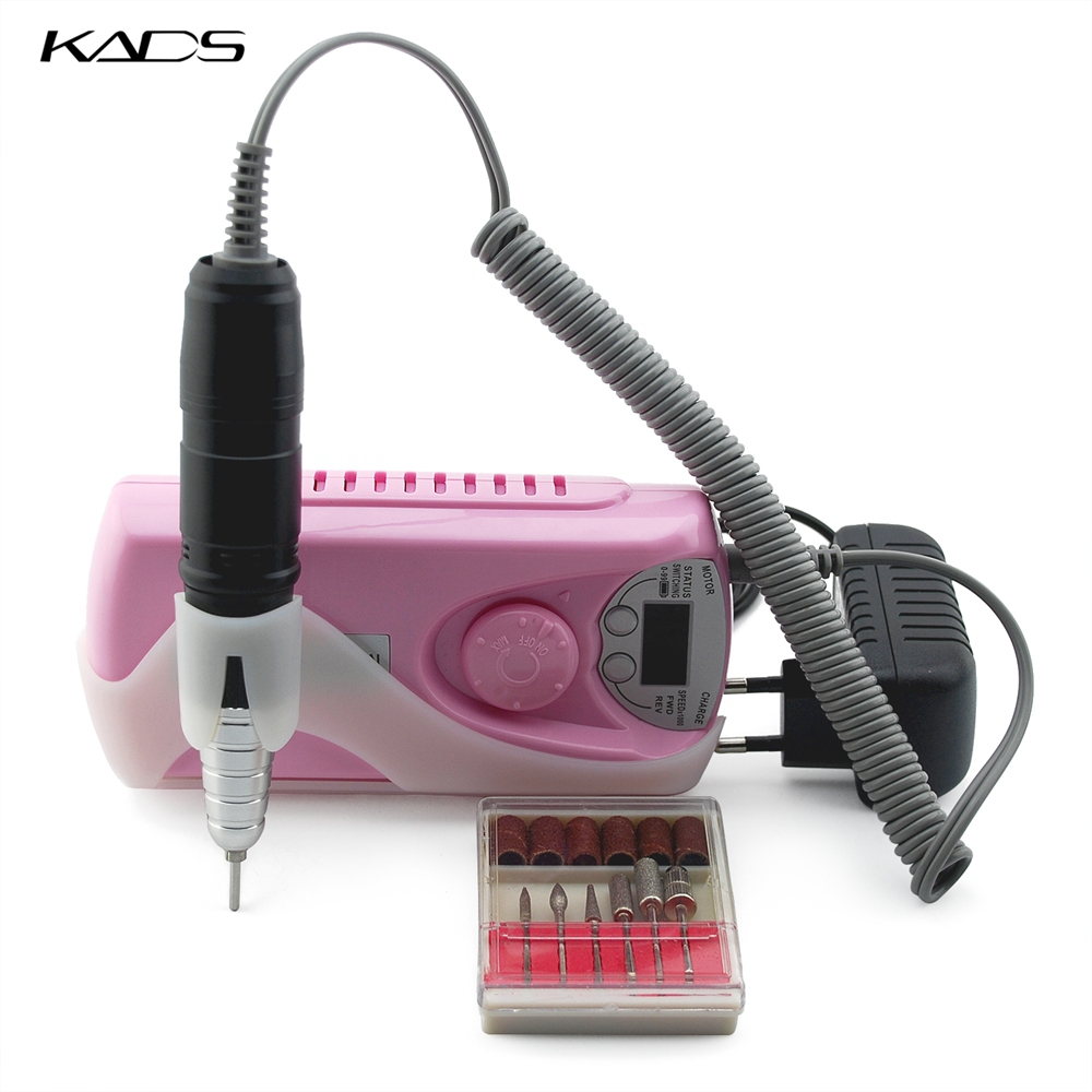 KADS 30000RPM máquina de perforación eléctrica portátil de uñas profesional recargable máquina de conjunto de manicura pedicura para equipos de uñas-in Equipo de decoración de uñas from Belleza y salud    1