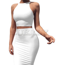 Cuerly 2019 Summer Women Two Piece Bodycon Dress 2 Sets Outfits Cotton Sleeveless Sexy Party Night Club Bandage Dresses