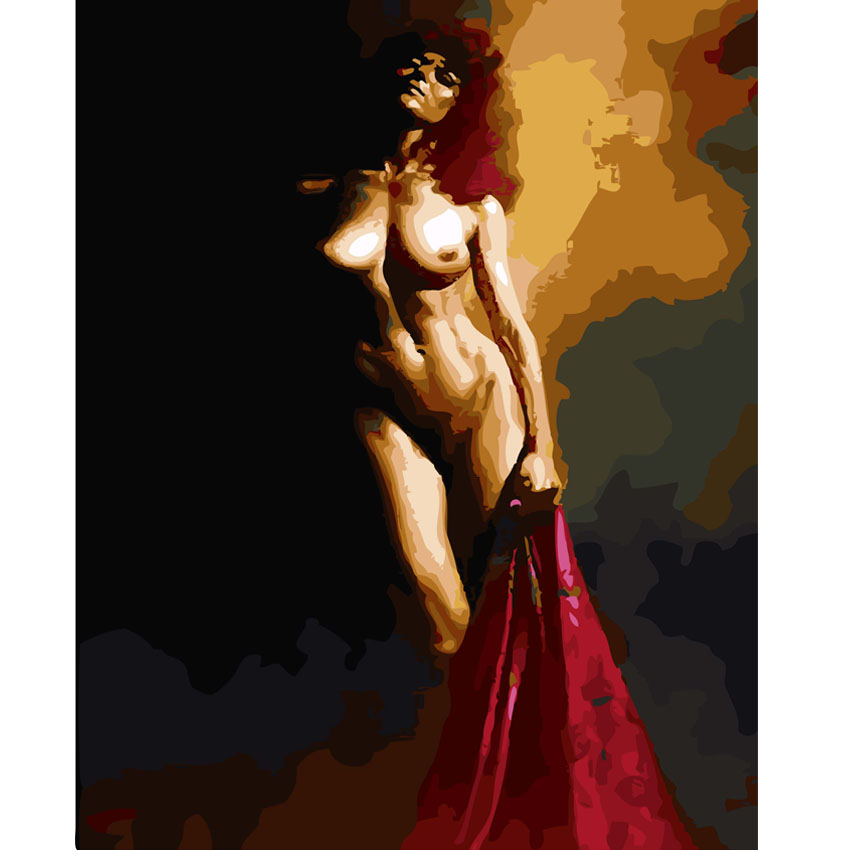 Nude Oil Painting By Numbers On Canvas Diy Digital Sexy Gril Painting Coloring By Numbers Cuadros Lienzos Decorativos Painting Calligraphy Aliexpress