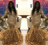Plus Size Gold Lace Mermaid Prom Gown For Black Girls With 3D Flora Rose Flower Train Full Sleeve African Women Evening Dress