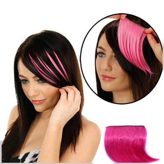 Colorful Fringe Hair Piece Seamless Fringe Clip In Hair Bangs