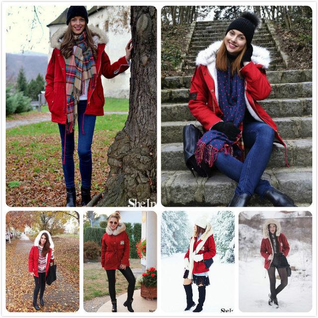 027c0a764b Online Shop SHEIN 2016 Autumn/Winter Parkas Casual Women Outerwears ...