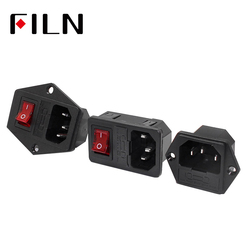 10A 250VAC 3 Pin iec320 C14 inlet connector plug power socket with red lamp rocker switch 10A fuse holder socket male connector