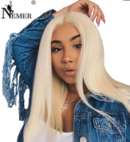 Brazilian Virgin Hair 150% Density #613 Blonde Full Lace Human Hair Wig Transparent Pre Plucked Natural With Baby Hair NEMER Wig