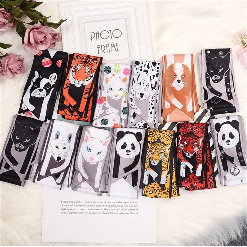 Woman Scarf Fashion 2018 New Cartoon Animals Silk Scarf Multi Function Satin Headwear Handle Bag Wild Small Square Scarf