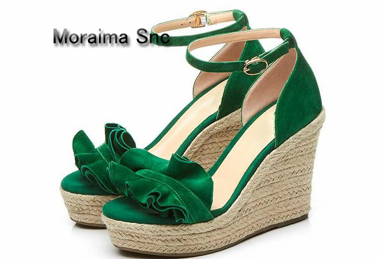 Nero Verde Snc Moraima verde 2018 As Picture Delle Fondo Gladiatore Toe Peep Sandali Ruffles Erba Signore Tessuto Hot Scarpe Dames Donne Spesso wqIdr1Xxd