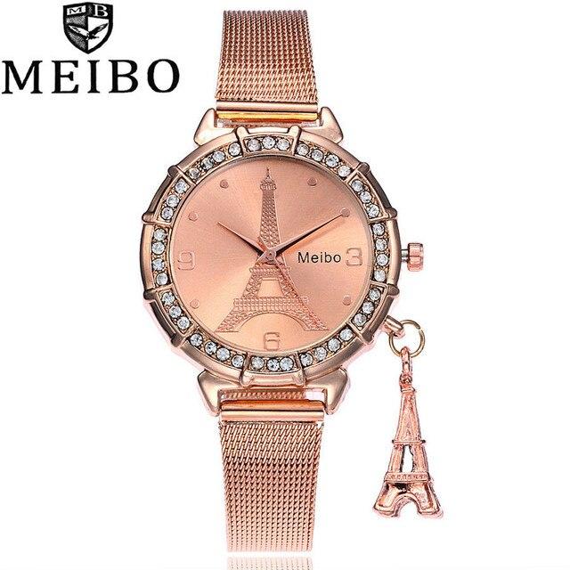 0818a0b5e9d MEIBO Marca de Moda de Prata de Ouro de Malha Banda Torre Eiffel Relógios  Mulheres Torre