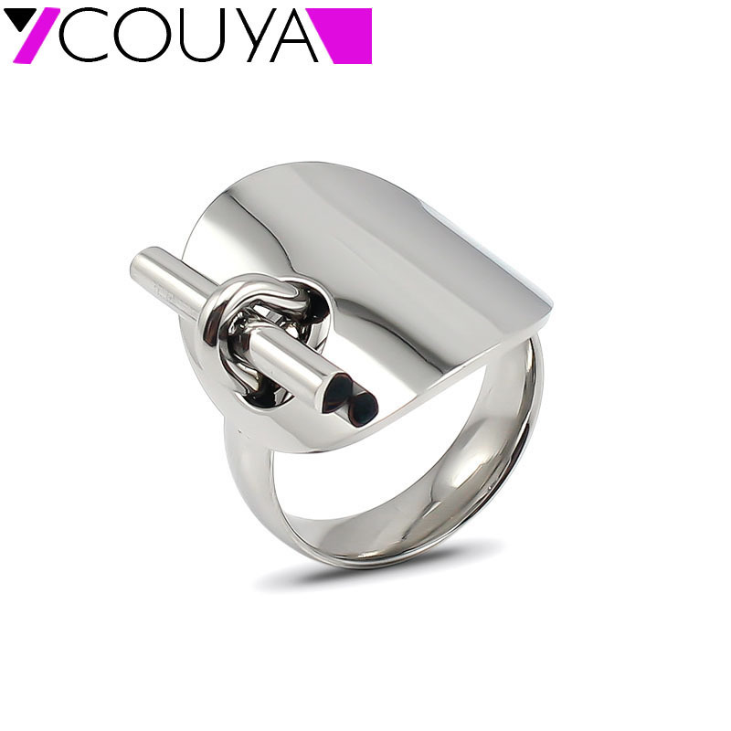 Fashion Stainless Steel Rings for Women Silver Round Lock Lockstitch Ring Punk Style Comfort Fit Bague Femme Anillos punk style solid color hollow out ring for women