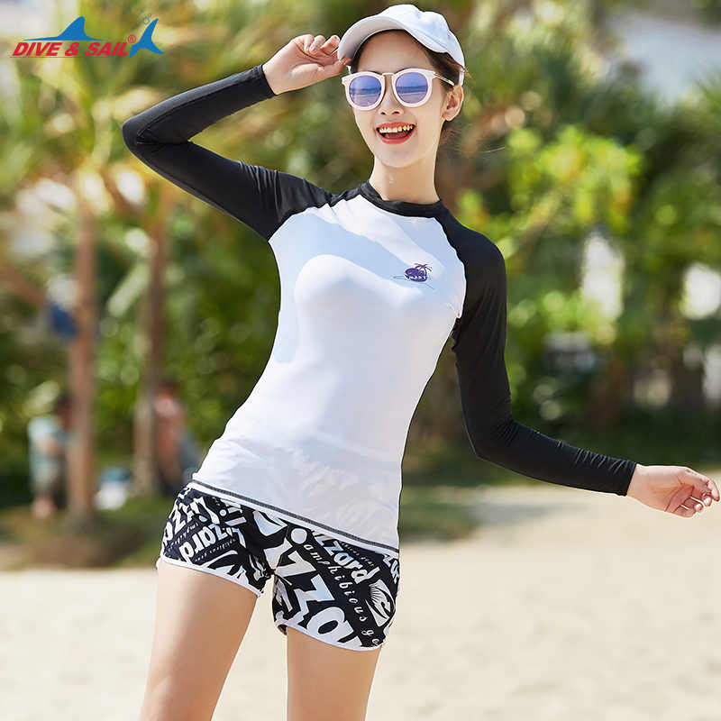 Set dari 2 piece wanita Rashguard Kemeja Lengan Panjang + Hot celana Perlindungan UV Matahari Atas Pelindung UPF 50 + Swimsuit Swimwear Bathing
