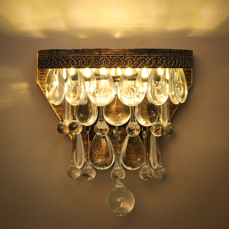 American Luxury Vintage Loft Water Drop K9 Crystal Wall Light Ložnice Lampa ulička