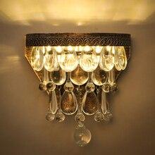 American Luxury Vintage Loft Water Drop K9 Crystal Wall Light Bedroom Lamp Aisle
