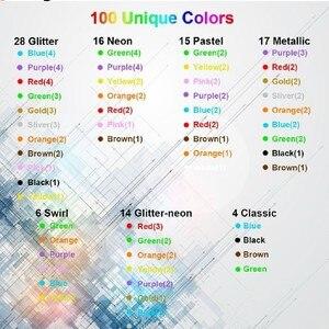 Image 3 - 100 色クリエイティブフラッシュゲルペンセット、グリッタージェルペン大人のためのぬりえブックジャーナル描画落書きアートマーカー