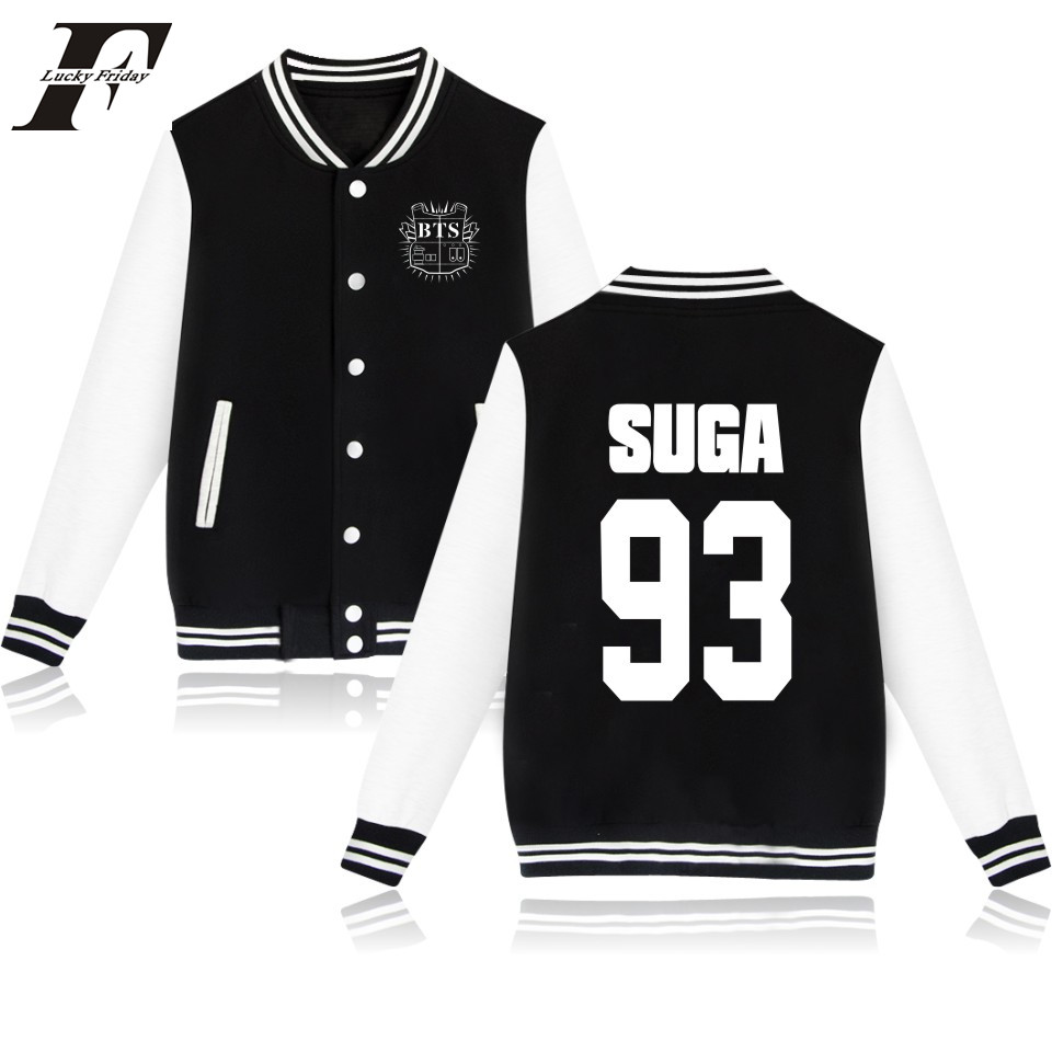 LUCKYFRIDAYF BTS Autumn Long Sleeve Bts Baseball Jacket Hoodie SUGA 93 Kpop Korean College Baseball Jackets