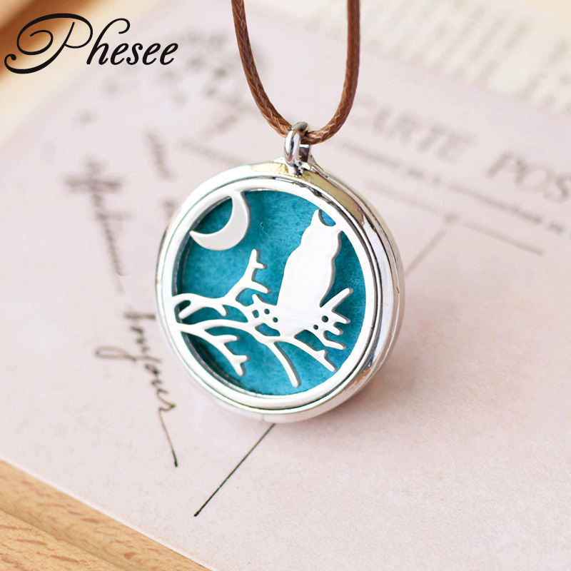 Phesee Cute Owl Moon Pendant Necklaces Stainless Steel Hollow Out Can Open As Essential Oil Diffuser